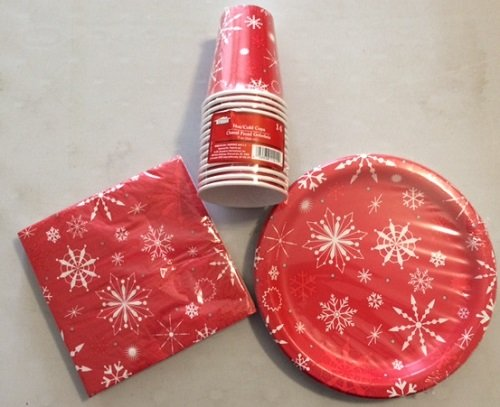 Christmas House Red Snowflake Party Pack (plates, napkins & cups)