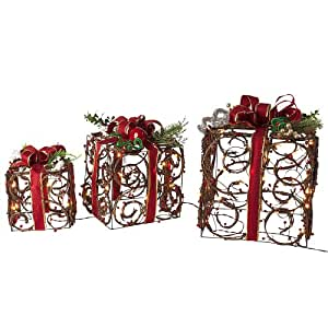 Set of 3 Pre-Lit Country-Rustic Rattan Gifts Christmas Yard Art - Clear Lights