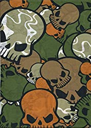 Multifunction Neckwarmer, Snood, Hat, Scarf and Hood in Green skull print by Monogram