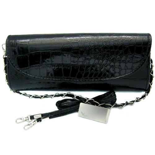 Missy K Crocodile Skin Embossed Faux Leather Clutch Purse - Black, with detachable strap and belt + kilofly Money Clip