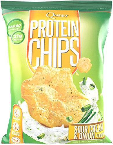 Quest Nutrition Protein Chips, Sour Cream & Onion, 21g Protein, Baked, 1.2oz Bag, 8 Count (Quest Protein Crisps compare prices)