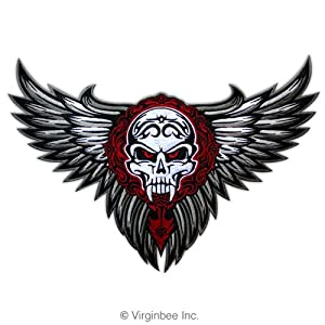 WINGS TRIBAL TATTOO BIKER JACKET RIDER VEST EMBROIDERED PATCH SIZE L