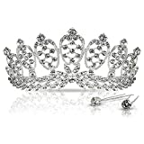 Crystal Crown Tiara with Comb for Pageants - Bridal Party - Wedding - Sweet 16 - Prom - Quinceanera or Any Occasion for a Queen. Light Weight - Hundreds of Shiny Rhinestones