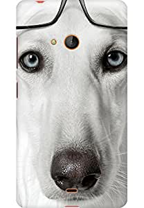 AMEZ designer printed 3d premium high quality back case cover for Microsoft Lumia 540 (nerdy dog)