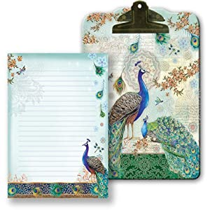 Punch Studio Royal Peacock Clip Board & Note Pad