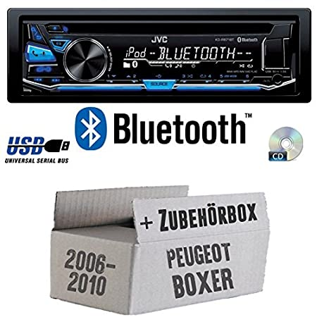 Peugeot Boxer ab 2006 - JVC KD-R871BT - Bluetooth CD/MP3/USB Autoradio - Einbauset