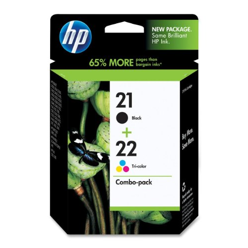 HP 21 22 Ink Cartridges (Cartuchos) Black and Color Combo Pack Original (C9509FN)