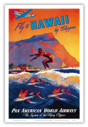 Pan American World Airways (PAA) - Fly To Hawaii by Clipper - Hawaiian Surfer and Flying Fish in front of Diamond Head Crater - Vintage World Travel Poster by Mark by Arenburg c.1940s - Hawaiian Master Art Print - 12 x 18in
