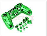 Replacement Chrome Plating Housing Shell Case Cover Part+Buttons for PS4 Controller DualShock4 Color Green
