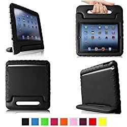 TCD for Apple iPad Air 1 & 2 [iPad 5 & 6] LIFETIME WARRANTY Light Weight Children's [BLACK] FOAM Case Cover Stand [MADE FOR CHILDREN] Multi Purpose for Protection Stand [SCREEN PROTECTOR STYLUS]