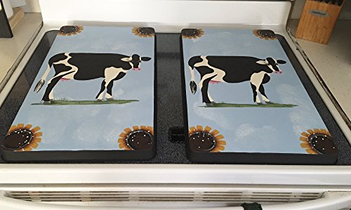 Sunflower Black and White Cow Stove Burner Covers Set (Sunflower Gas Burner Covers compare prices)