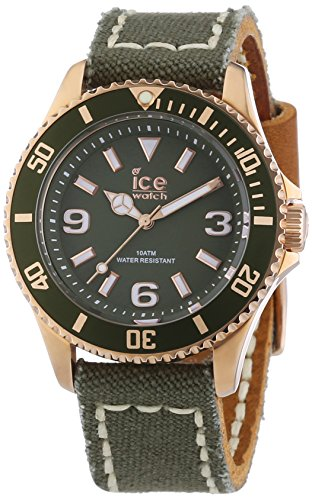 Ice-Watch Unisex-Armbanduhr Canvas Khaki Analog Quarz Leder CA.KA.RG.U.C.14