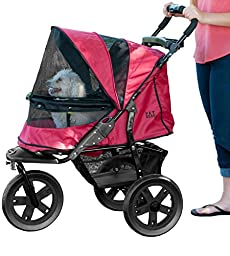 Pet Gear No-Zip AT3 Pet Stroller, with Zipperless Entry, Rugged Red