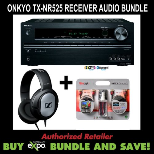 Onkyo Tx-Nr525 Receiver, Sennheiser Hd201 Headphones Bundle