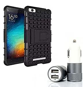 Droit Shock Proof Protective Bumper back case with Flip Kick Stand for Redmi MI4C + Car Charger With 2 Fast Charging USB Ports by Droit Store.