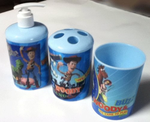 3 Pc Toy Story Bath Set - Dispenser - Toothbrush Holder - Cup