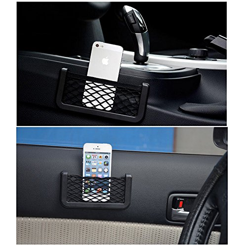 mudder universal car organizer storage net bag phone holder pocket black vehicles parts. Black Bedroom Furniture Sets. Home Design Ideas