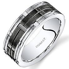 buy Mens 8Mm Cobalt Wedding Band Ring Mosaic Black Center Size 12