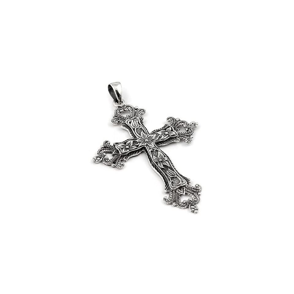 2.5 Inches Large Antique Look Decorated Sterling Silver Cross Pendant
