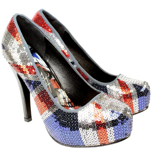 Womens Iron Fist Jacked Up Union Jack High Heel Sequin Court Shoes Blue