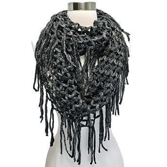 Luxury Divas Black Wide Open Knit Crochet Long Fringed Circle Infinity Scarf ...