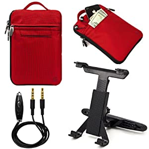 "(Red) VanGoddy Hydei Bag Case for RCA / SVP 7"" Tablet + Headrest Post Mount + Auxiliary Cable from Electronic-Readers.com"