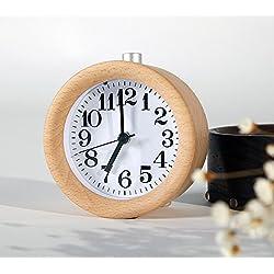 WAYCOM Classic Small Round Wood Grain Mute Table Alarm Clock with Nightlight