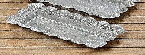 Deko-Tablett Fleur Metall grau