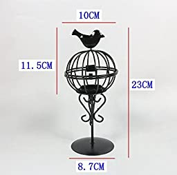 YONG Bird cage wrought iron candle holders and creative home decor Lantern , black