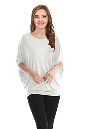 White Tunic Top Batwing Shirt Tunic Sweater Drape Tunics for Leggings