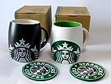海外限定品【Starbucksスターバックスマグカップ白緑&黒グレー2個セット