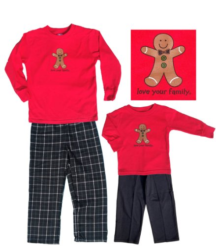 Gingerbread Boy Christmas Black and Red Long Sleeve Kids and Infant Clothing Set