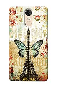 Omnam Eiffil Tower Of Paris With Butterfly Printed Designer Back Cover Case For Lenovo K5 Note
