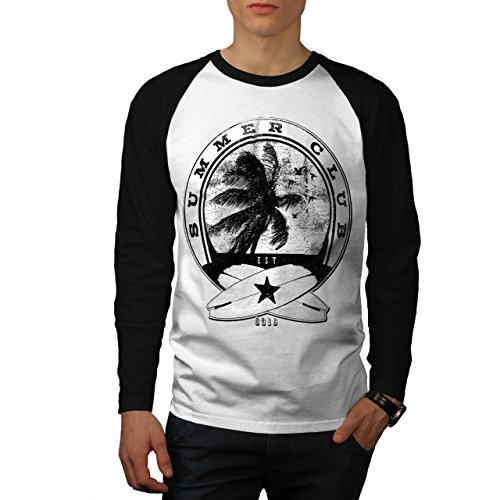 Summer Surf Waves USA Palm Beach Men NEW White (Black Sleeves) M Baseball LS T-shirt | Wellcoda (Bbq Island Umbrella Sleeve compare prices)