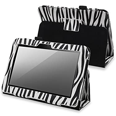 eForCity Leather Case Pouch with Stand Compatible with Amazon Kindle Fire HD 7-inch, Black Zebra