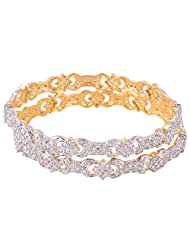 Bharat Sales Gold Plated White Alloy Bangles For Women - B00YPATD36