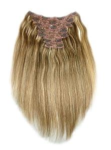 Tressecret Remy Human Hair Clip-In Seven Piece Extension, Dark Honey Brown Frost, 14 Inch, 7 Count