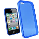IGadgitz Blue Durable Crystal Gel Skin (Thermoplastic Polyurethane TPU) Case Cover for Apple iPhone 4 HD 16gb & 32gb + Screen Protector