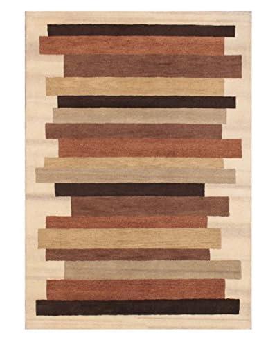 Stacked Stripe Rug, Brown/Tan, 5' x 8'