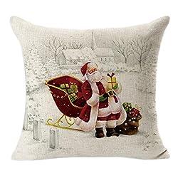 Rukiwa Christmas Square Throw Flax Pillow Case Decorative Cushion Cover