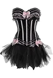 Black and Pink Burlesque Corset and Skirt