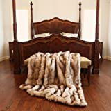 "Best Home Fashion Champagne Fox Faux Fur Lounge Throw Blanket 58"" x 60"" - TR"