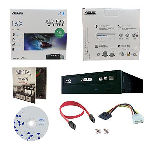 ASUS BW-16D1HT 16X Blu-Ray BDXL M-DISC CD DVD Bluray interno Burner con 1pk GRATIS MDisc DVD + BD Suite Software + Cavi & Viti di montaggio