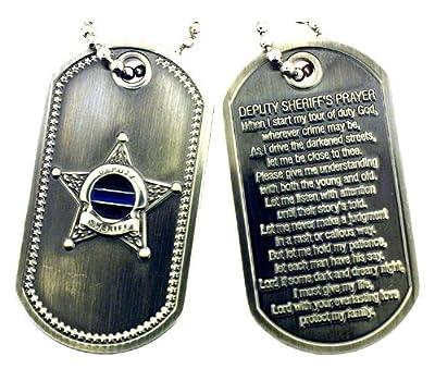 Deputy Sheriff's Prayer Thin Blue Line Brushed Steel Dog Tag