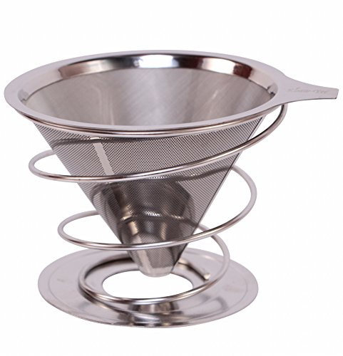 Pour Over Drip Coffee Maker from Khaw-Fee - Permanent, Reusable Stainless Steel Pour Over Microfilter and Stand - Paperless - Single Serve Cup - Portable - Enjoy Full Bodied Coffee at Home or Work