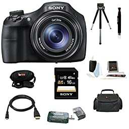 Sony DSC-HX300 20.4MP Digital Camera with 50x Optical Zoom and 3-Inch LCD in Black + Sony 16GB SDHC + Camera Case + Micro HDMI Cable + Accessory Kit