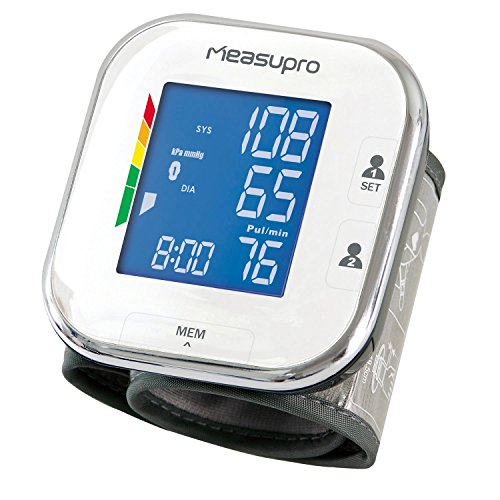 MeasuPro Portable Wrist Blood Pressure Monitor with Heart Rate Meter, Hypertension Color Alert Display, Two User Modes, IHB Indicator and Memory Recall (Blood Pressure Monitoring Machine compare prices)