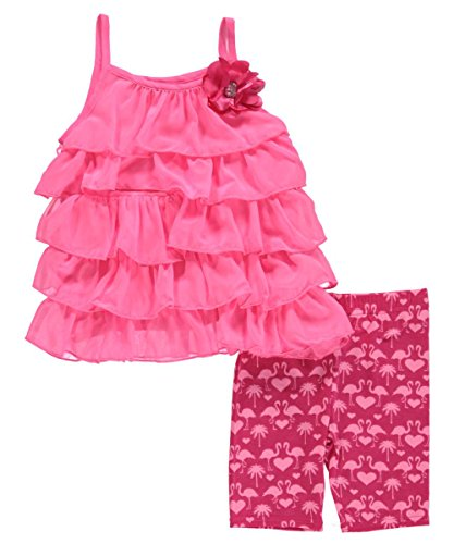 "Youngland Little Girls' ""Tiered Ruffle"" 2-Piece Outfit - fuchsia, 6"