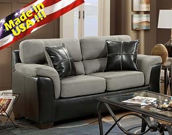 Roundhill Furniture Laredo 2-Tone Loveseat, Black and Grey