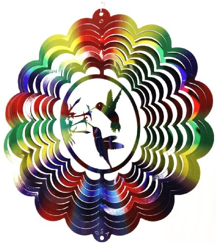 "12"" Hummingbird Dbl - Primary/printed - This Double Hummingbird Spinner Is Done in a Multicolor Design. There May Be Very Slight Blemishes That Are Not Noticeable in the General Scheme of Things. They Will Still Come with Our Life Time Rust Proof Guarante"